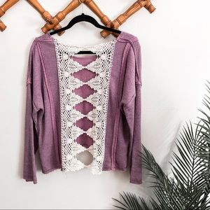 Free People   Lavender Lace Sweater